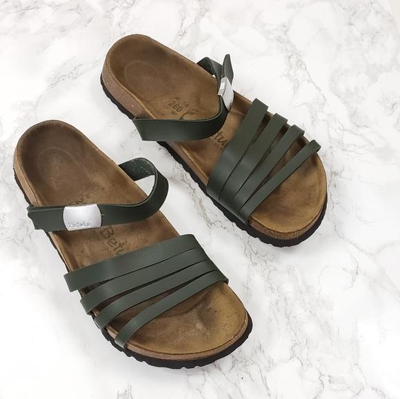 Betula Burma Birko Flor 4 Strap Sandals Green